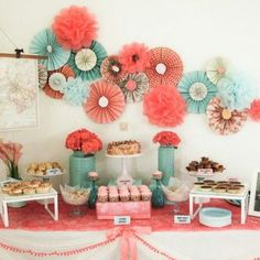 Coral and teal themed wedding dessert table - baby shower colors!