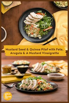 Add grilled chicken for a quick and easy lake-side meal. Always feel free to experiment by substituting ingredients with whatever vegetables or seasonings you have on hand. Mustard Greens, Mustard Seed, Rub Recipes, Salad Recipes, Quinoa Pilaf, Chia Recipe, Mustard Recipe, Lake Side, Mediterranean Dishes