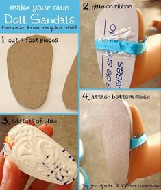 tutorial for diy doll sandals American Girl Dolls American Girl Doll Shoes, American Girl Crafts, American Girl Clothes, American Dolls, Sewing Doll Clothes, Sewing Dolls, Barbie Clothes, Diy Clothes, Doll Shoe Patterns