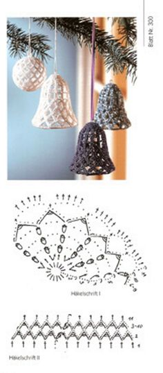 MK Crochet Diagram, Crochet Motif, Diy Crochet, Crochet Crafts, Crochet Doilies, Crochet Christmas Ornaments, Crochet Snowflakes, Holiday Crochet, Christmas Bells