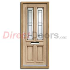 Malton Oak Door and Frame with Black Caming Tri Glazing. #frontdoors