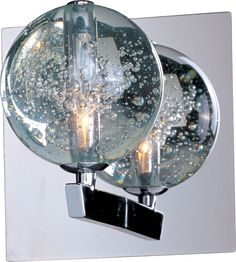 Add a dramatic luster to your room with this clear bubble glass Orb wall sconce. The mesmerizing light imitates the flowing movements of water and air as it shines through the glass and reflects off the polished chrome frame. Contemporary Wall Sconces, Modern Sconces, Rustic Wall Sconces, Candle Wall Sconces, Wall Sconce Lighting, House Lighting, Modern Wall, Modern Living, Sconces Living Room