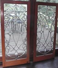 Pair of beveled stain glass panels, Shop Rubylane.com