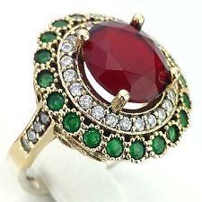 D665 7 NEU Echt 925er Silber Damenring Ring Zirkonia Rubin Gr: 58 (18,4 mm Ø)