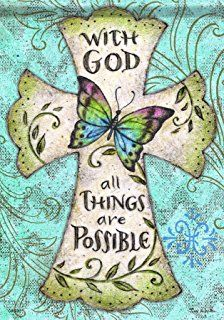 "Butterfly Cross Flag from Just for Fun Flags. An inspirational Butterfly Cross flag by artist Tina Wenke for Flagtrends by Carson . The butterfly and cross design is visible from both sides – ""With God All Things are Possible"" Embroidery Kits, Cross Stitch Embroidery, Cute Bear, Cross Flag, Flags For Sale, Small Flags, Butterfly Cross Stitch, Esquivel, Easter Cross"