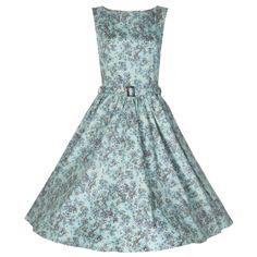 Retro šaty Lindy Bop Audrey Turguoise Floral