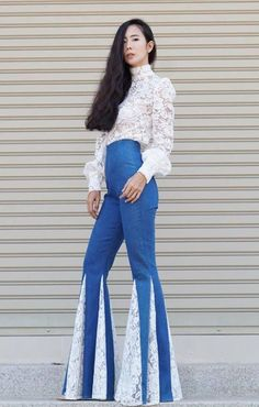 3d7c1327de08d9 Women's High Waisted Jeans White Lace Insets Wide Flare Bell Bottom Pants/Vintage  70s Style/Hippie/B