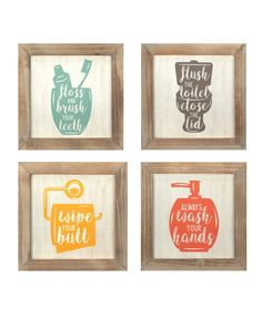 The Stratton Home Decor Set of Rules Wall Art is a modern, bold, colorful collage for any bathroom. The playful prints of floss flush wipe and wash framed in wood. Great addition to your bathroom wall decor. Each art piece measures at 10 i Home Decor Sets, Wall Decor Set, Wall Art Sets, Art Decor, Bathroom Rules, Bathroom Wall Decor, Bathrooms Decor, Bathroom Ideas, Bathroom Inspiration