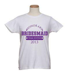 Bridal TShirts Honorary Bridesmaid by WicksnCandlesticks on Etsy, $15.00