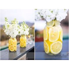 Lemons in a Mason Jar with White Stock Flowers
