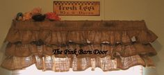 Country Ruffled Burlap Valance by ThePinkBarnDoor on Etsy Burlap Window Treatments, Window Coverings, Burlap Valance, Rustic Primitive Decor, Drapes Curtains, Valances, French Country House, Barn Wood, Decor Ideas