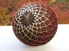 fiber art decorative ball  hand embroidered  van julieandco op Etsy