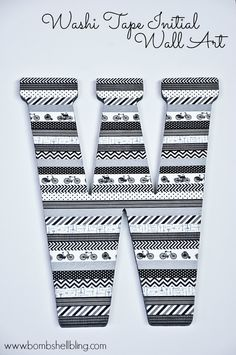 Washi Tape Initial Wall Art. Get the #washi tapes here: www.washitapes.nl #washitape #maskingtape