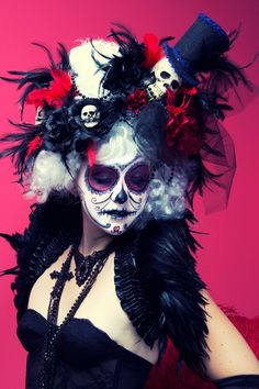 white day of the dead victorian skull wig by CandyCrypt on Etsy