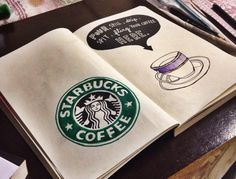 Wreck this journal ideas I could do this with my favorite coffee label, pic of the cup like this one, and coffee painted inside.