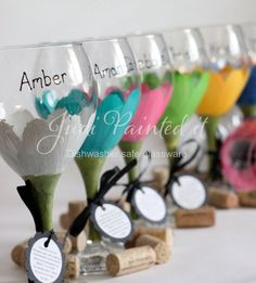 Daisy hand painted wine glasses in a SET OF 6 - You choose the colors - FREE Personalization and dishwasher safe