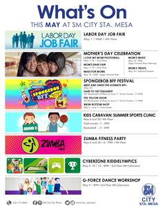 Exciting events this May:  > May 20 - Kids Caravan: Summer Sports Clinic, 1-3pm Taekwondo & 3-5pm Basketball at Upper Ground Floor > May 20 - Zumba Fitness Party, 6pm at the 4th Floor Cinema Lobby > May 2 to June 7 - Spongebob Best Friends Festival - Bikini Bottom Bazaar at the Upper Ground Floor - The Yellow Show, 1-4pm on ALL WEEKENDS from May to June 7 > May 24 - Spongebob & Patrick Meet & Greet, 2pm / 4pm / 6pm at the Upper Ground Floor  See you all!  ‪#‎iLoveSM‬ ‪#‎iLoveSMStaMesa‬
