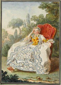 1759 Vicomtesse de Rochechouart by Louis Carrogis (Musée Condé - Chantilly France) | Grand Ladies | gogm