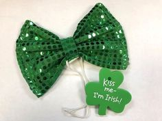 68a0ec9923c1 St. Patricks Day Giant Green Sequin Bow Tie & Blinking Shamrock Pin Lot  Paddys #Unbranded