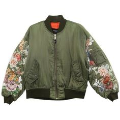 Soldiers Floral Embroidered Sleeve Bomber ($925) ❤ liked on Polyvore featuring outerwear, jackets, sleeve jacket, bomber style jacket, green jacket, green bomber jacket and bomber jackets
