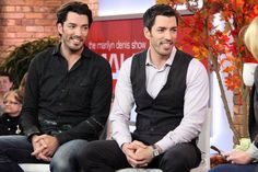 Jonathan & Drew Scott getting ready to be on The Canadian tv show Marilyn. October 2016.