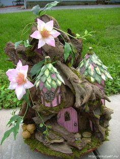 Lilianna will love this! OOAK Driftwood FAIRY House unfurnished Dollhouse By J. McLaughlin Custom Furniture Available Fairy Dust, Fairy Land, Fairy Tales, Create A Fairy, Fairy Garden Houses, Fairy Doors, Miniature Fairy Gardens, Dragons, Projects To Try