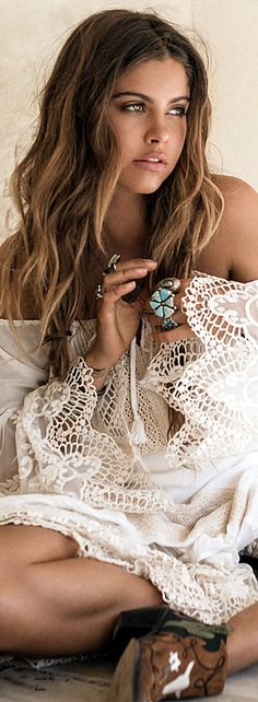 Sexy crochet embellished off the should top with chunky modern hippie turquoise rings. For the BEST bohemian fashion trends FOLLOW > https://www.pinterest.com/happygolicky/the-best-boho-chic-fashion-bohemian-jewelry-gypsy-/ < now.