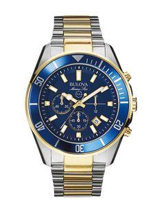 Bulova Men's Chronograph Marine Star Two-Tone Stainless Steel Bracelet Watch - Watches - Jewelry & Watches - Macy's Fine Watches, Cool Watches, Watches For Men, Men's Watches, Wrist Watches, Unique Watches, Luxury Watches, Fashion Watches, Bulova Mens Watches