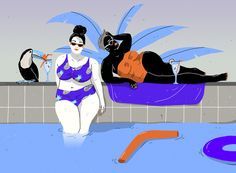 CURVY by Laura Breiling #illustration with #swimmingpool and #palmtree