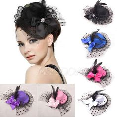 Bow Hair Clip Lace Feather Mini Top Hat Fascinator Burlesque Party Fancy Dress #TopHat