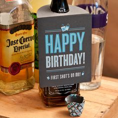 Happy Birthday Card Shot Glass Bottle Hanger  Try to do it!