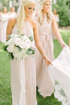 pearl pink halter bridesmaid dresses, chic long formal party gowns.
