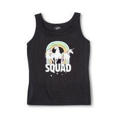 Pride Women's Unicorn Squad Tank Black ($13) ❤ liked on Polyvore featuring tops, black, unicorn top, unicorn shirt, unicorn tank top, target shirts and unicorn tank