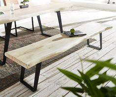 Sitzbank Live-Edge 195x40 Akazie gebleicht Gestell schräg Baumkante Möbel Stühle…