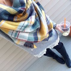 Simple and cozy for church (outfit inspired by the amazing @msthuymadeline). Call us crazy, but we also put up the Christmas lights on the house this morning... Just taking advantage of the nice weather while it's here. // sweater and leggings #loftoulet // boots #ninewest // scarf and bracelets @luxestatements // coffee cozy @mommasweetpeacrochet3 // #wearwhatwherenovember