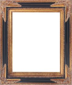 Black and gold with ornate corners.  Picture Frame 250