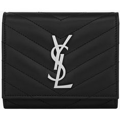 Monogram Saint Laurent Compact Wallet ($725) ❤ liked on Polyvore featuring bags, wallets, yves saint laurent wallet, snap bags, snap wallet, monogrammed bags and stitch wallet