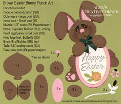 photo tutorial from Alex's Creative Corner ... punch art ... paper chocolate Easter bunny greeting ... Stampin' Up!