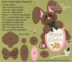 Alex's Creative Corner - Brown bunny punch art instructions