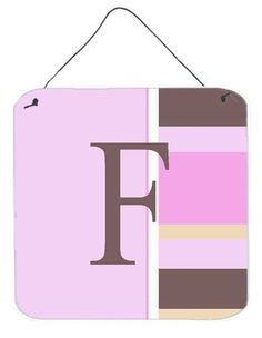 Letter F Initial Monogram - Pink Stripes Wall or Door Hanging Prints