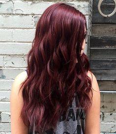 long wavy mahogany hairstyle