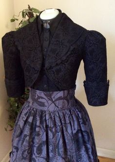 Part of my Nevermore collection. Victorian era Edgar Allen Poe influenced, Half Jacket with Trim. - Sleeves are 3/4 in length with a mock cuff. - Fully Lined - Lace is from Lourdes, France - Hand sewn