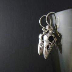 Bird Earrings Antique Silver Bird Skull Earrings von LostApostle, $30,00