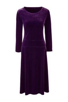 Women's+3/4+Sleeve+Velvet+Flounce+Dress+from+Lands'+End