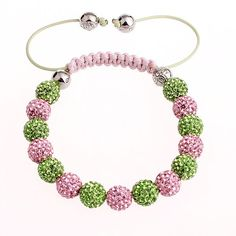 Aka Shamballa Pink Green Bracelet This Is A Handcrafted That We Make In