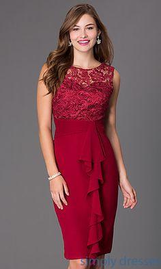 Knee Length Sleeveless Dress with Lace Bodice