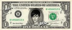 RIHANNA on a REAL Dollar Bill Cash Money Memorabilia Collectible Celebrity Bank