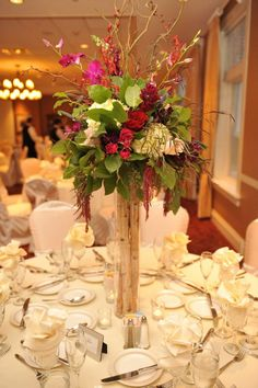 vase centerpiece -tall arrangements, buffet table flowers