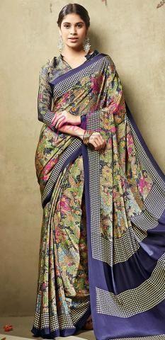 Floral Printed Crepe Saris Blue Synthetic Digital Design BZ5051D77067