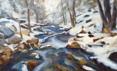Icy stream making it's way through a snowy wood. I loved the contrast between the sharp edges of the stones and smooth icy water. This painting was real joy to paint, keeping the brushstrokes lose. Snowy Woods, Brush Strokes, Contrast, Smooth, My Arts, Stones, Joy, Landscape, Water